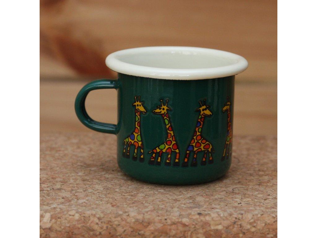 Green espresso mug with a giraffe