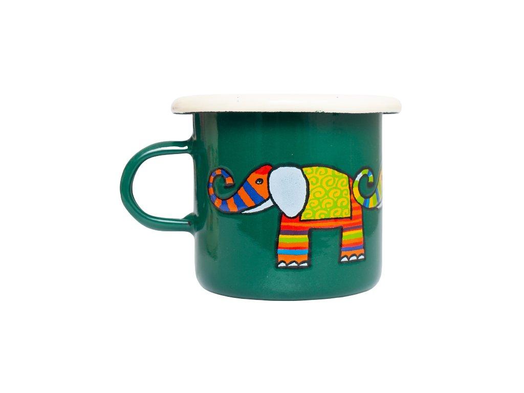 Smaltovany espresso hrnek zeleny slon 2 removebg preview