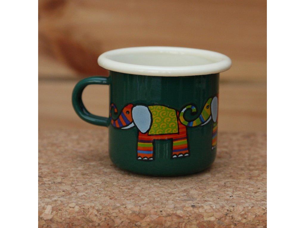 Green espresso mug with a elephant