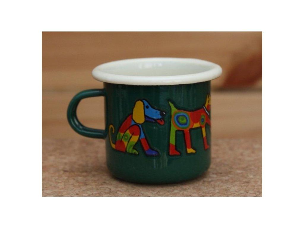 Green espresso mug with a dog