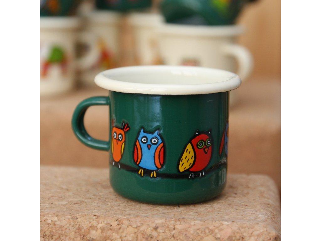 Green espresso mug with an owl
