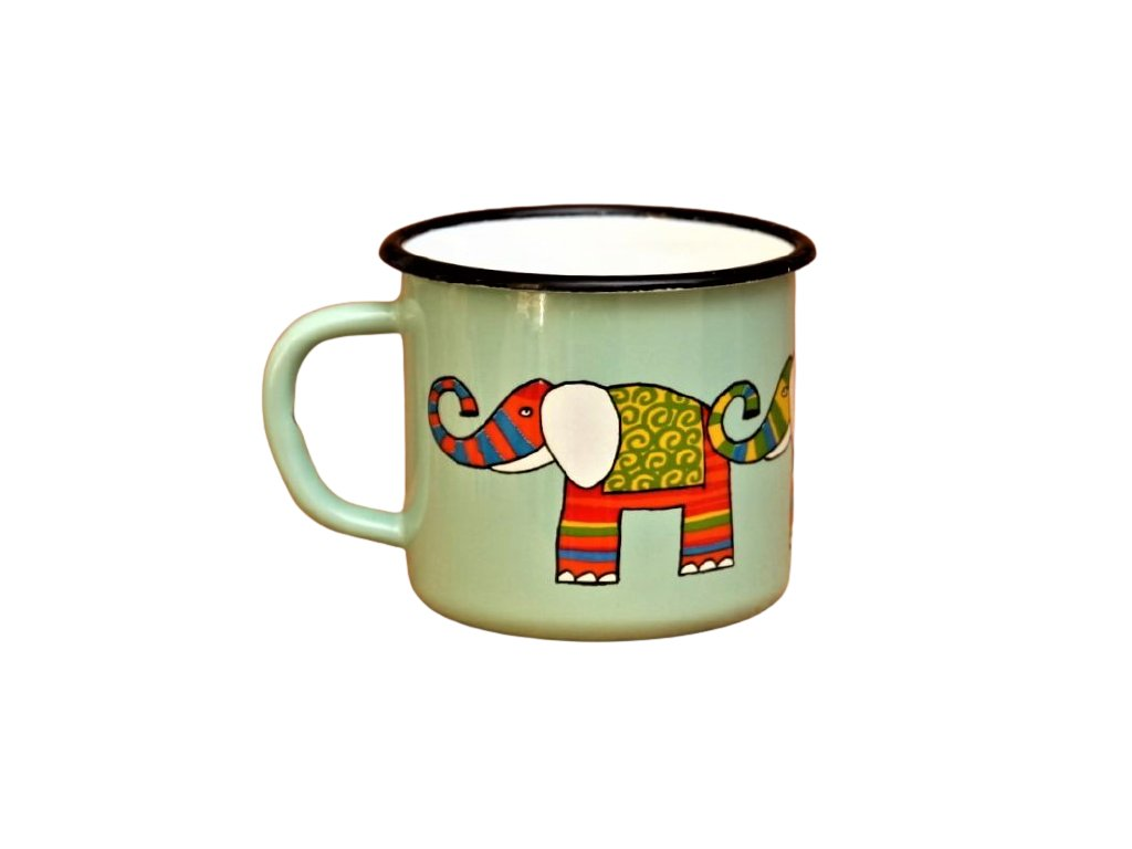 2846 turqoise mug with an elephant