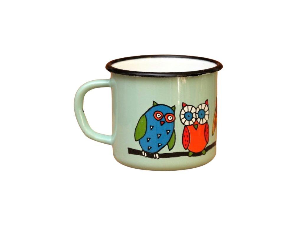 2852 turqoise mug with an owl