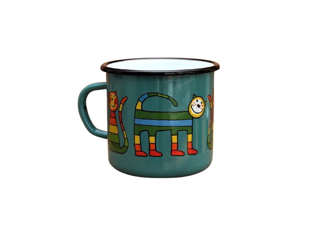 2870 enamel mug ocean blue motive cat