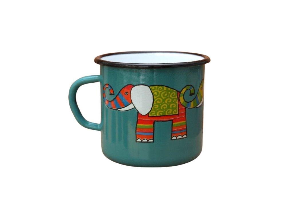 2876 enamel mug ocean blue motive elephant