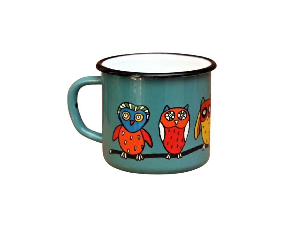 2885 enamel mug ocean blue motive owl