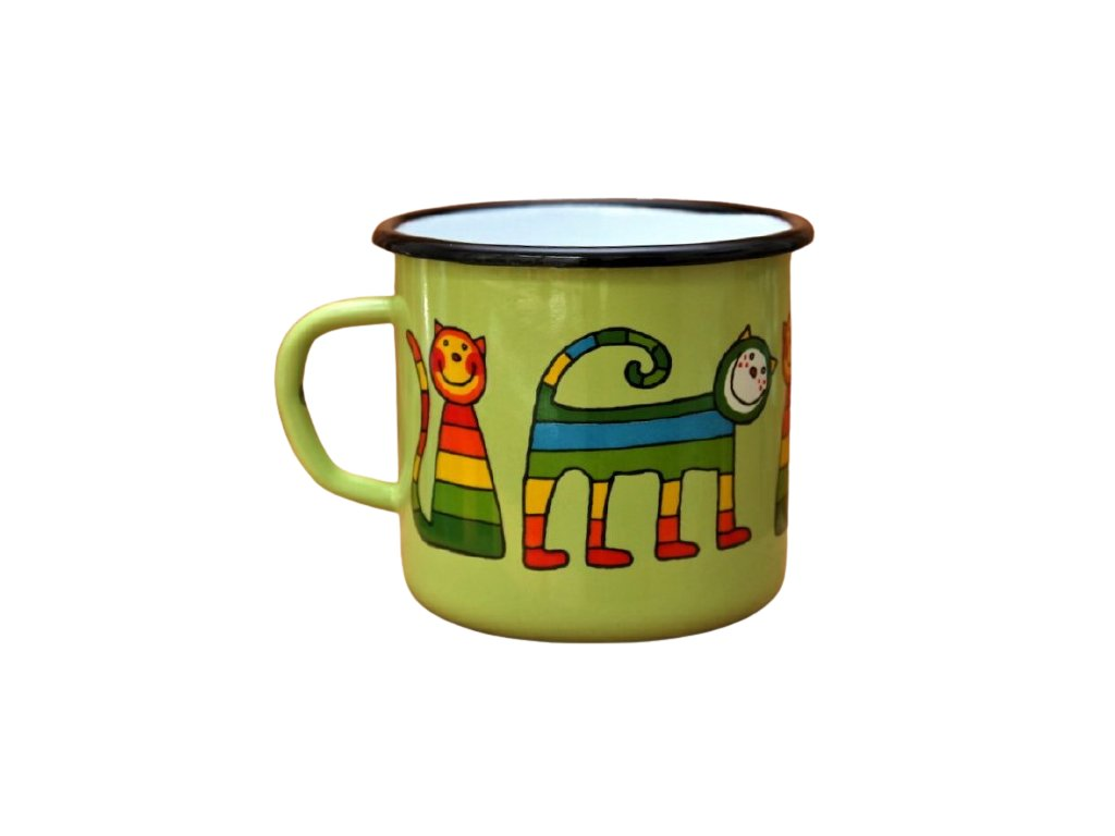 2903 enamel mug light green motive cat