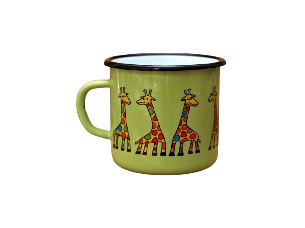 2906 enamel mug light green motive giraffe