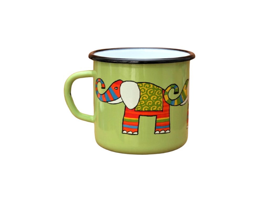 2909 enamel mug light green motive elephant