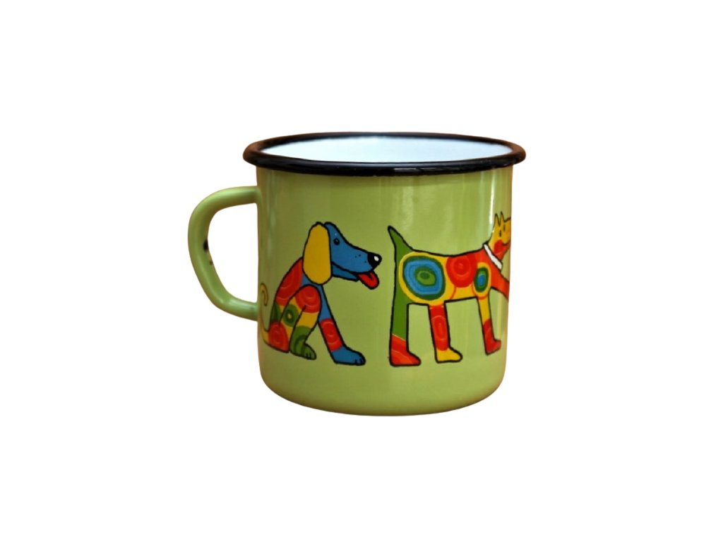 2912 enamel mug light green motive dog