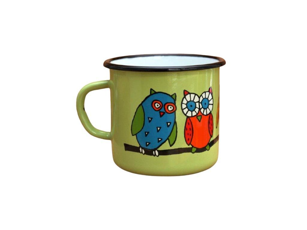 2915 enamel mug light green motive owl