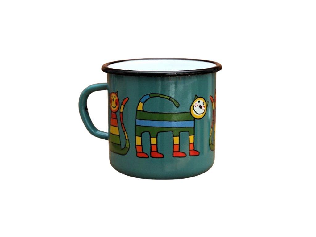 2918 enamel mug ocean blue motive cat