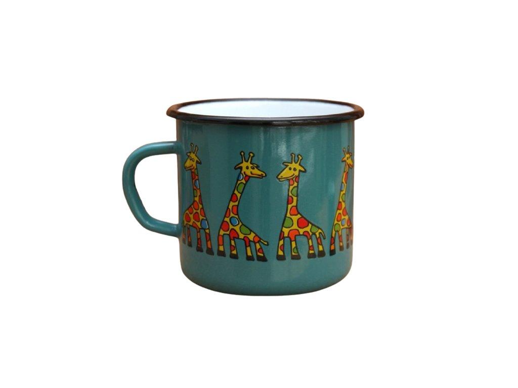 2921 enamel mug ocean blue motive giraffe