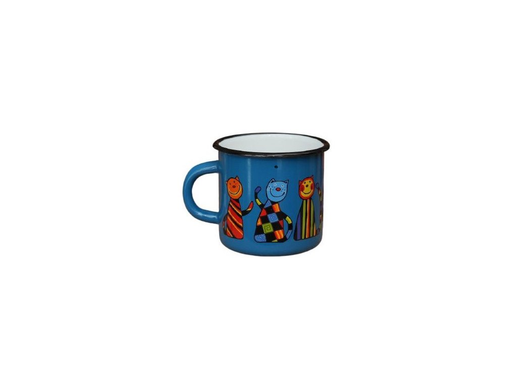 3059 8 enamel mug navy blue motive cat