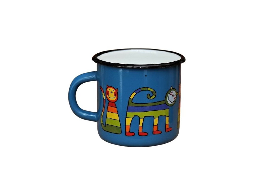 3074 10 enamel mug navy blue motive cat