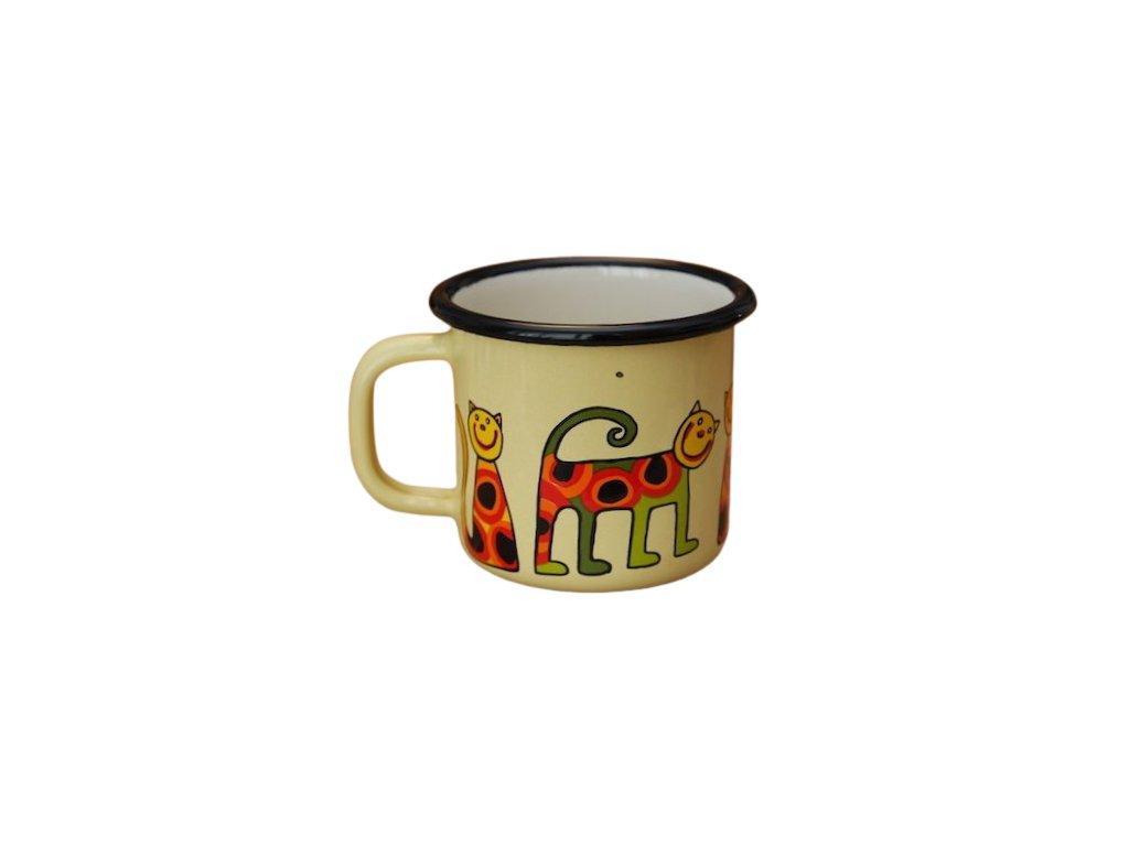 3128 1 enamel mug yellow motive cat
