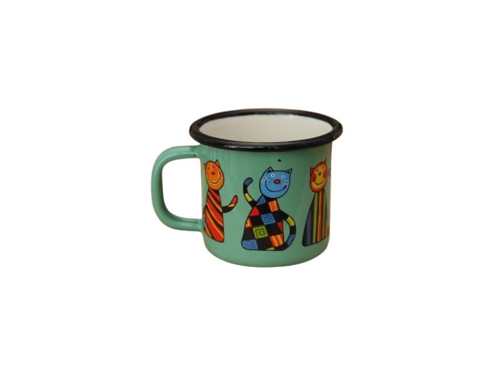 3203 4 enamel mug light green motive cat
