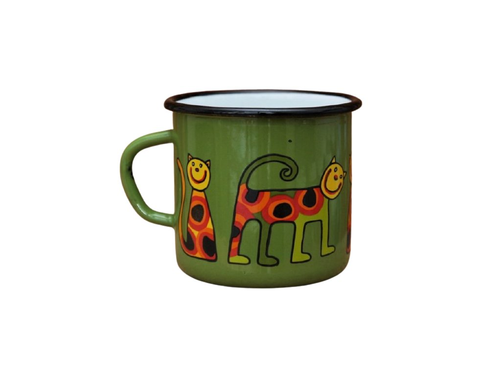 3251 1 enamel mug dark green motive cat