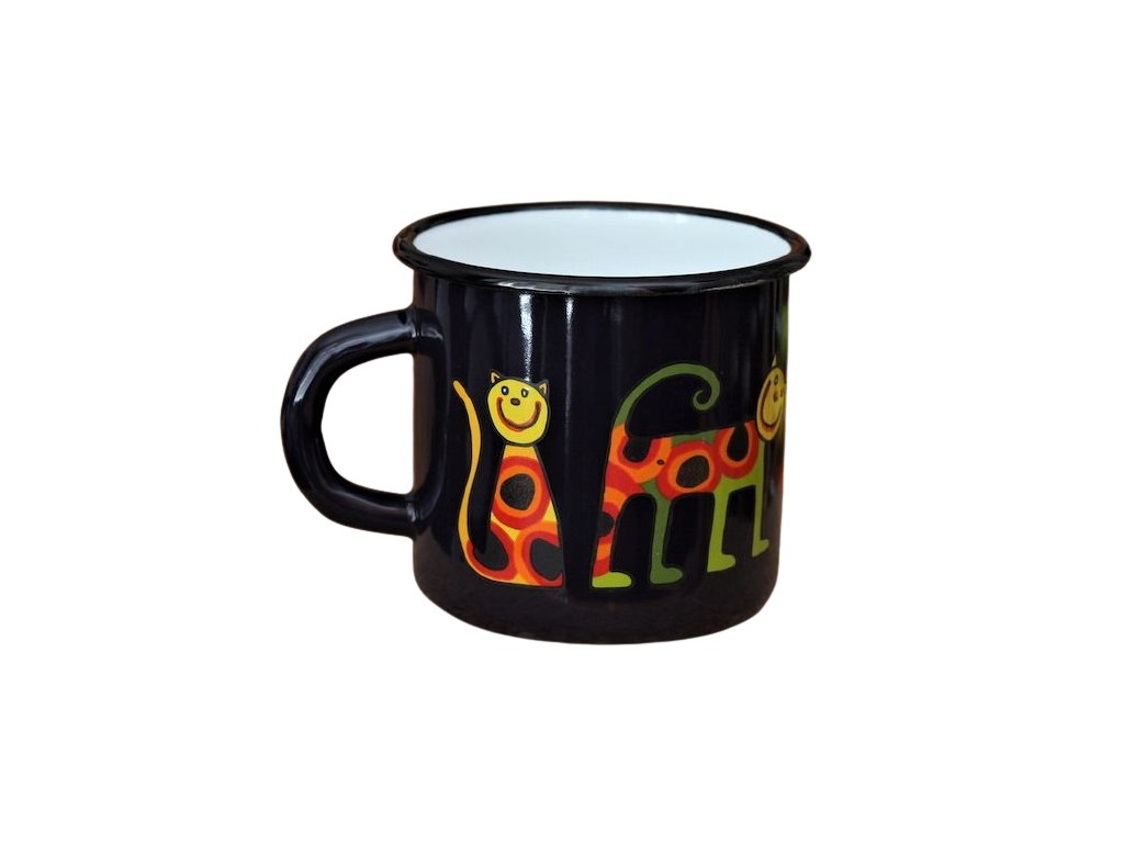 3272 1 enamel mug dark blue motive cat