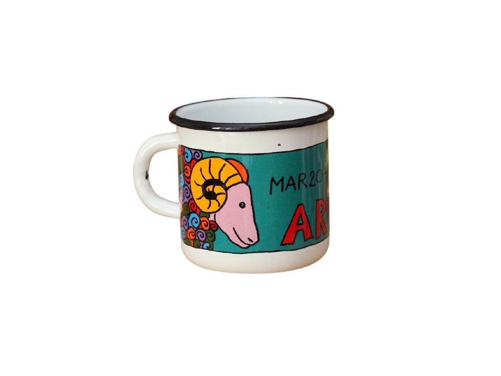 3614 1 enamel mug white zodiac sign aries