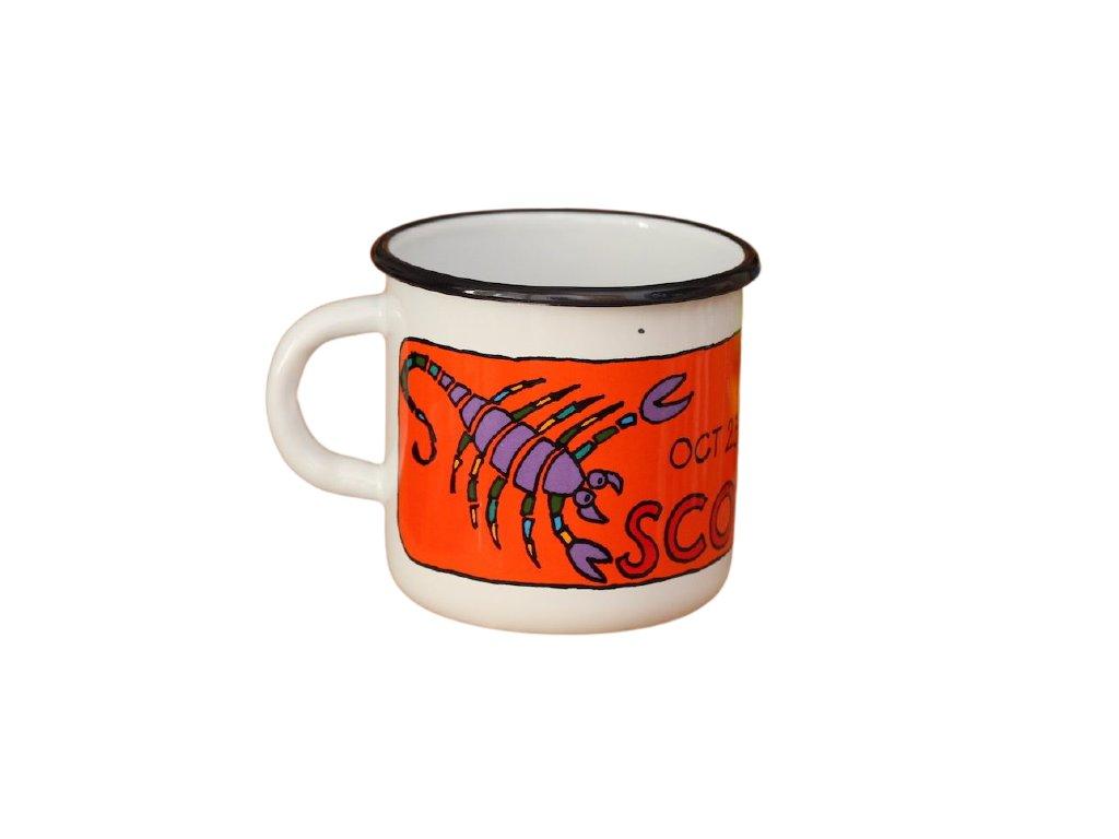 3635 enamel mug white zodiac sign scorpio