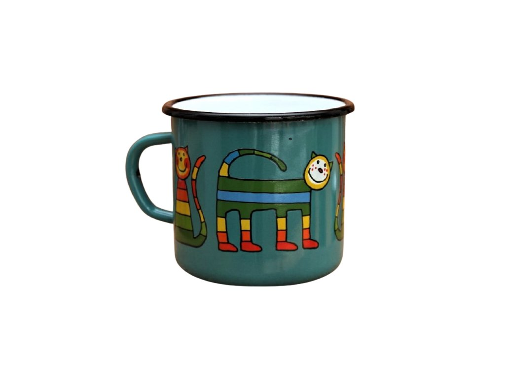 4199 enamel mug ocean blue motive cat