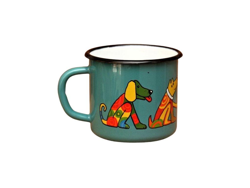 4208 enamel mug ocean blue motive dog