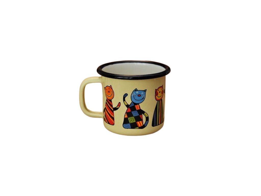 870 enamel mug yellow motive cat