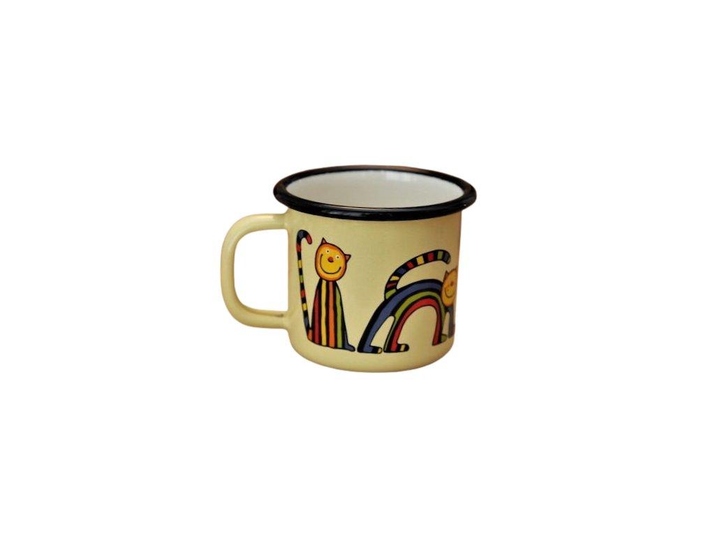 876 enamel mug yellow motive cat