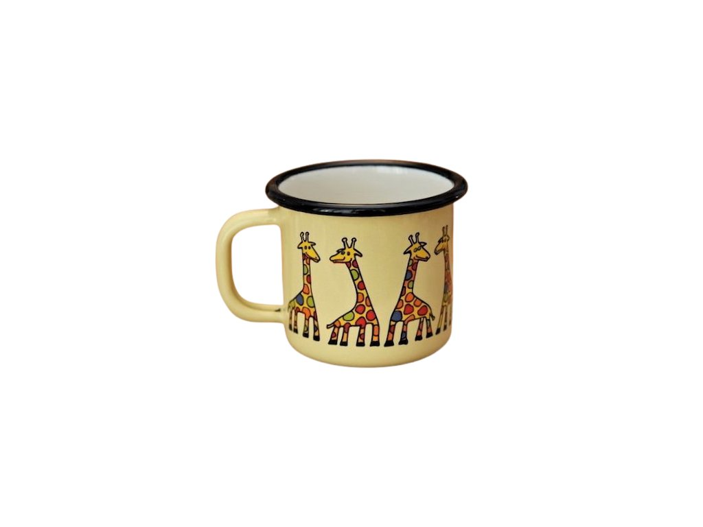 879 enamel mug yellow motive giraffe