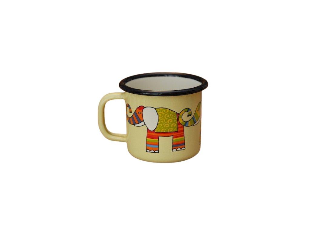 885 enamel mug yellow motive elephant