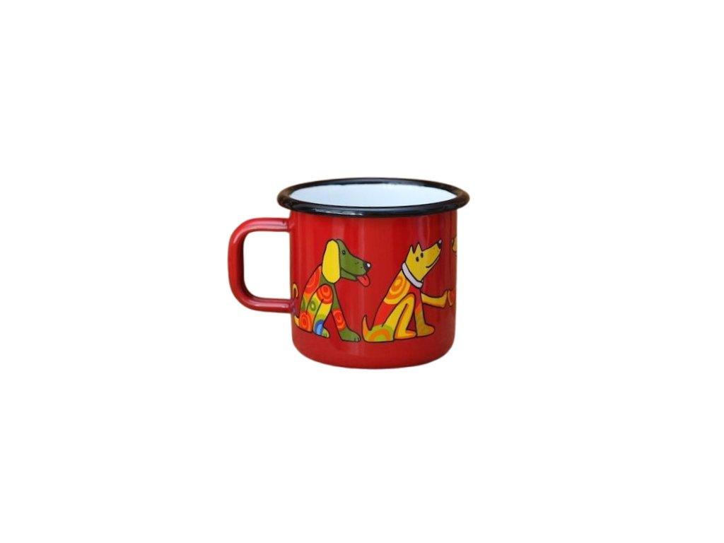 894 enamel mug red motive dog