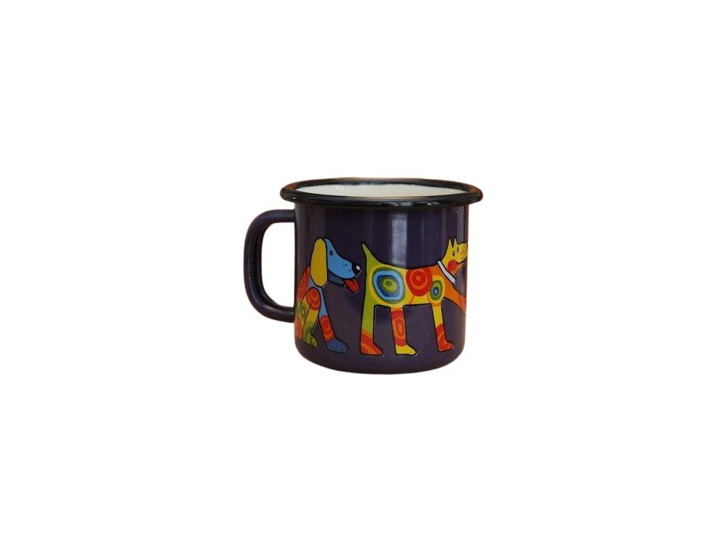 897 enamel mug dark blue motive dog