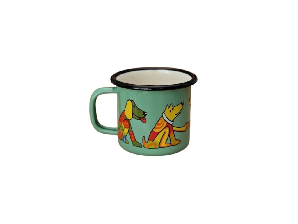 903 enamel mug light green motive dog