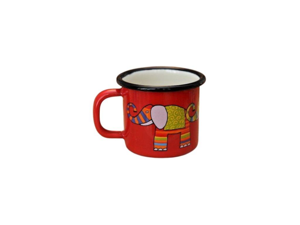957 enamel mug red motive elephant