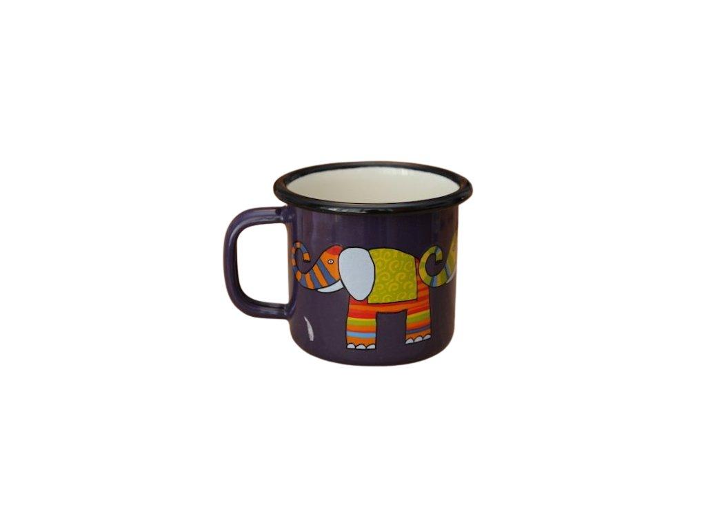 960 enamel mug dark blue motive elephant
