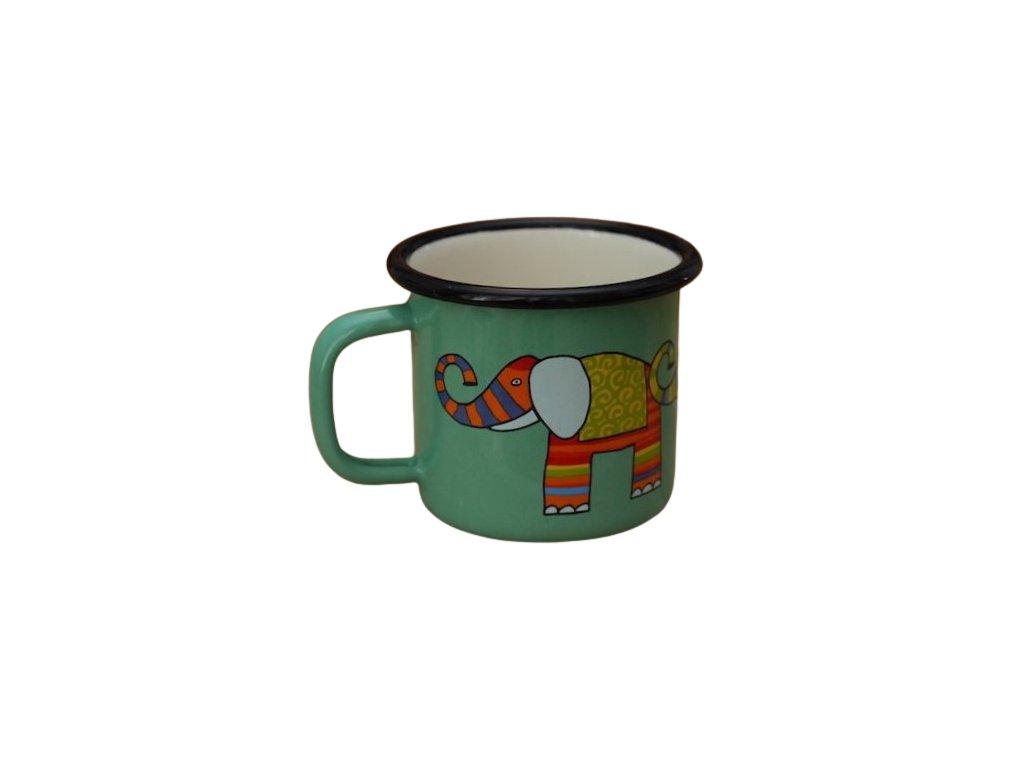 969 enamel mug light green motive elephant