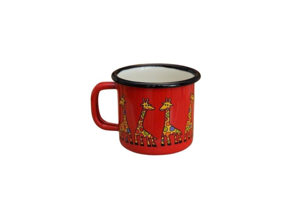972 enamel mug red motive giraffe