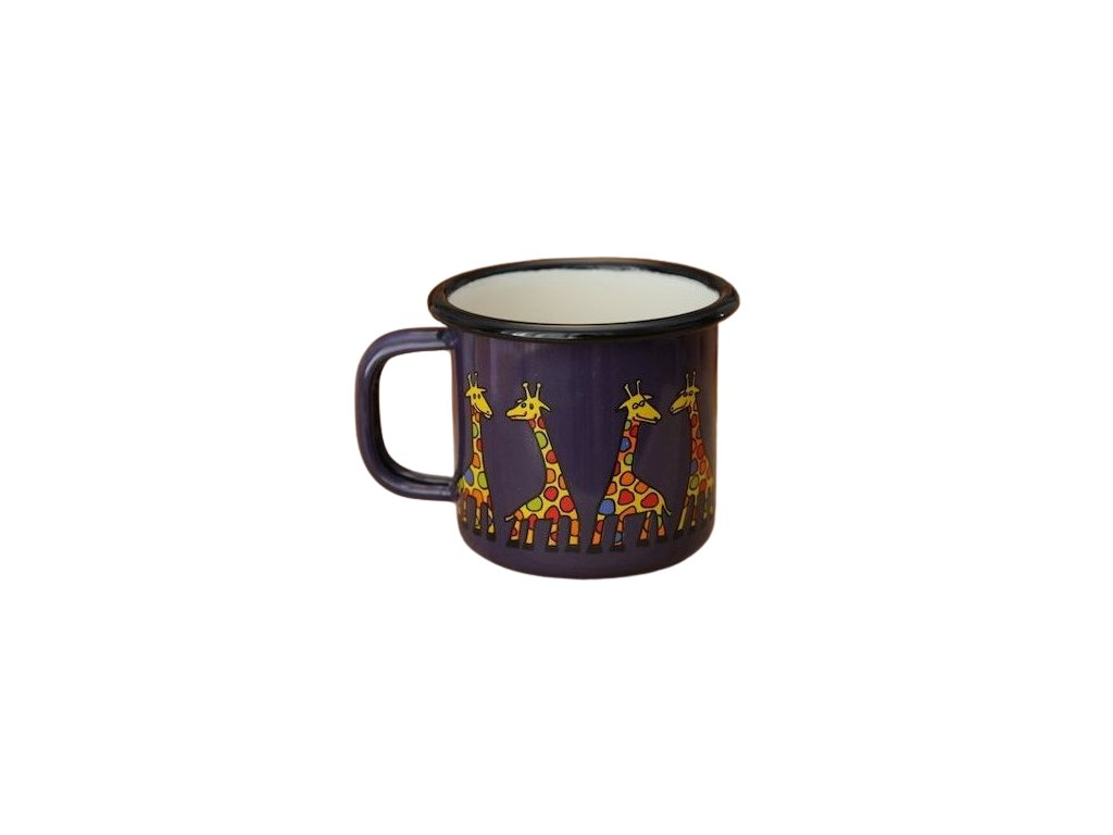 975 enamel mug dark blue motive giraffe