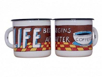 113 white mug life begins after coffee