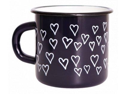 5081 enamel mug dark blue motive hearts