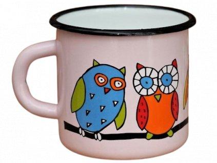 119 enamel mug pink motive owl