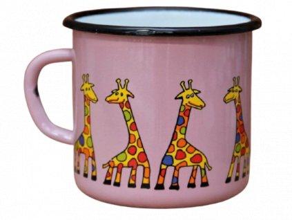 125 enamel mug pink motive giraffe