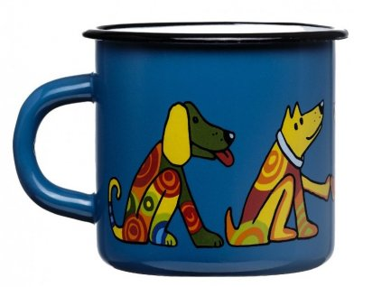 128 10 enamel mug dark blue motive dog