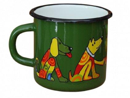 1305 enamel mug dark green motive dog