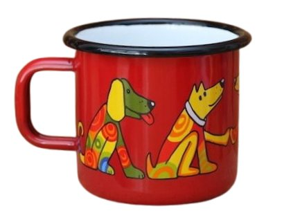 131 enamel mug red motive dog