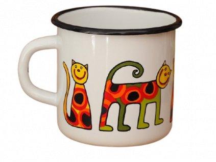 1338 enamel mug white motiv cat