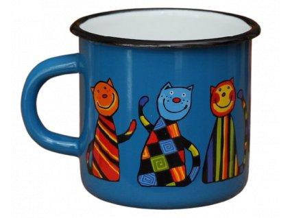 143 enamel mug navy blue motive cat
