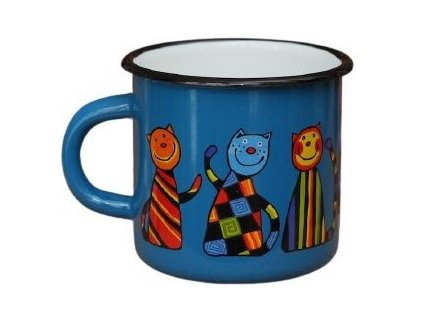 blue mugs with cats