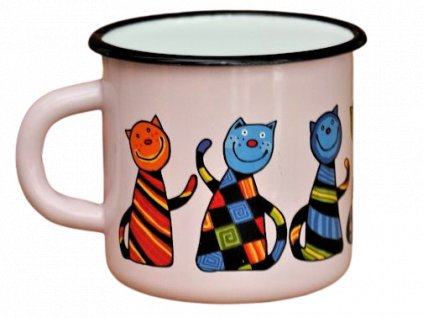 1458 enamel mug pink motive cat